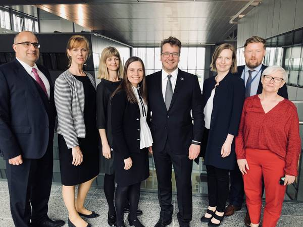 Staff of the Icelandic delegation to NATO along with PM Katrín Jakobsdóttir and Foreign Minister Guðlaugsson