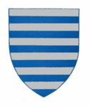 A shield with twelve silver (white ) and blue horizontal stripes